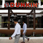 A Dunkin' store, the first since a rebranding by the Dunkin' Donuts chain, is pictured ahead of its opening in Pasadena, California.