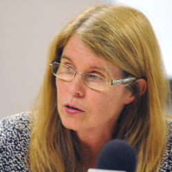 Former Maine Department of Health and Human Services Commissioner Mary Mayhew speaks during a press conference in Bangor in this 2014 file photo.