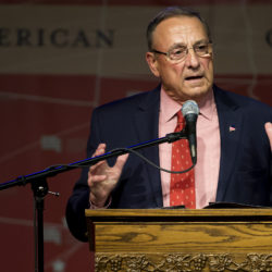 Gov. Paul LePage speaks to members of the community during a drug summit at Crosspoint Church in Bangor in July 2017.