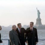 President Ronald Reagan and Vice President George H.W. Bush meet with Soviet General Secretary Gorbachev on Governor's Island in New York on Dec. 7, 1988.