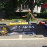 Chris Lyons, chairman of the Libertarian Party of Maine, during a recent registration drive.