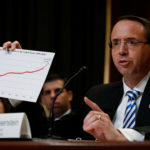 Deputy U.S. Attorney General Rod Rosenstein holds a chart purporting to show an increase in U.S. drug overdose deaths, as he testifies about the Justice Department's budget before a subcommittee hearing of the Senate Appropriations Committee on Capitol Hill in Washington, U.S. June 13, 2017.