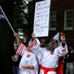 Members of the Ku Klux Klan rally in support of Confederate monuments in Charlottesville, Virginia, July 8, 2017.