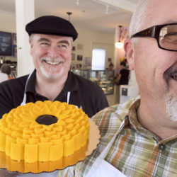 Karl Holmes, right, and Eric Treworgy opened Pugnuts ice cream shop in Surry last summer. They serve house made gourmet ice cream and gelato, alongside some ice cream cakes, sundaes and ice cream bars.