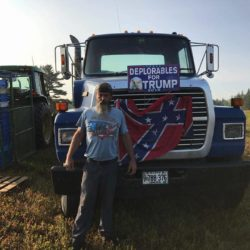 A picture posted to Facebook Wednesday shows Pelletier posing in front of the Confederate flag on his tractor in the middle of a blueberry field in Sedgwick.