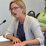 Damariscotta town attorney Jenny Villeneuve discusses a petition for a moratorium on commercial development during the Aug. 15 Damariscotta Board of Selectmen.