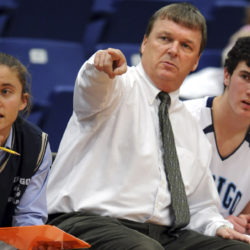 Gavin Kane of Wilton, pictured coaching at Dirigo High School, has been hired as the head women's basketball coach for the University of Maine at Presque Isle.