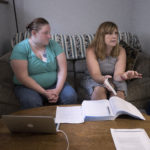 Heather Lambert (left) grew up moving from home-to-home in the Maine foster care system. Now at age 25 she is hoping to get her High School Equivalency Test and she has been getting help from Literacy Volunteers of Bangor tutor, Jen Montgomery-Rice.