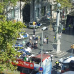 Police and emergency services attend to injured persons at the scene after a van crashed into pedestrians near the Las Ramblas avenue in central Barcelona, Spain August 17, 2017, in this still image from a video obtained from social media. Courtesy of  @Vil_Music/ via REUTERS.