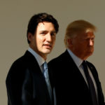 U.S. President Donald Trump and Canadian Prime Minister Justin Trudeau walk from the Oval Office to the Residence of the White House in Washington, U.S. on February 13, 2017.
