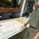 Dwayne Shaw, executive director of the Downeast Salmon Federation, talks about a steady increase in Atlantic salmon smolt migration on the East Machias River before a fund-raising event at the Peter Gray Hatchery in East Machias on Aug. 3, 2017.