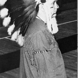 Husson University's Braves mascot. The Braves was the mascot from 1967-2004. Husson's mascot was changed to the Eagle in 2004.