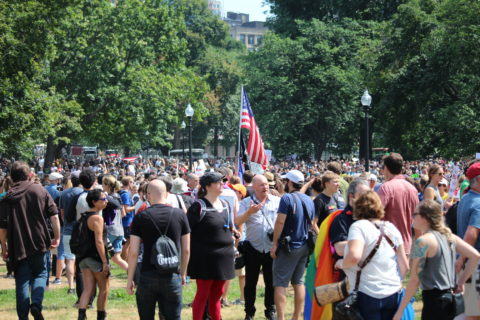 Counterprotesters gather on the Boston Common before a controversial rally that organizers described as a demonstration in favor of free speech.