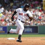 Aug 20, 2017; Boston, MA, USA; Boston Red Sox center fielder Jackie Bradley Jr. (19) runs out a two-run triple against the New York Yankees during the second inning at Fenway Park. Mandatory Credit: Winslow Townson-USA TODAY Sports