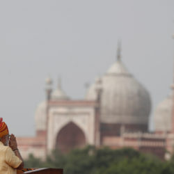 Indian Prime Minister Narendra Modi gestures as he addresses the nation from the historic Red Fort during Independence Day celebrations in Delhi, India, Aug. 15, 2017.