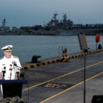 Admiral Scott Swift, Commander of the U.S. Pacific Fleet, speaks at a news conference near the damaged USS John McCain and the USS America at Changi Naval Base in Singapore August 22, 2017.