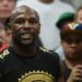 Floyd Mayweather Jr. looks on during a media workout in preparation for his fight against Conor McGregor at Mayweather Boxing Club.