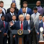 President Donald Trump speaks at a ceremony honoring the Super Bowl LI champion New England Patriots on the South Lawn at the White House.