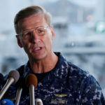 Vice Admiral Joseph Aucoin, U.S. 7th Fleet Commander, speaks to media on the status of the U.S. Navy destroyer USS Fitzgerald, damaged by colliding with a Philippine-flagged merchant vessel, and the seven missing Fitzgerald crew members, at the U.S. naval base in Yokosuka, south of Tokyo, June 18, 2017.  Aucoin was relieved on duty Wednesday after the deadly collision between the USS John McCain and a Liberian-flagged vessel.