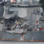 The Arleigh Burke-class guided-missile destroyer USS Fitzgerald, damaged by colliding with a Philippine-flagged merchant vessel, is seen at the U.S. naval base in Yokosuka,, Japan June 18, 2017.