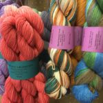 Colorful hand-painted yarns are among the materials for sale at Purple Fleece, a fiber arts supply shop and studio in Stockton Springs. Owner Debbie Bergman, who hosts a weekly knitters circle, uses different techniques to color yarns and unspun wool roving for knitting, weaving and other crafts.