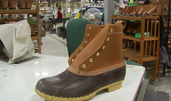 A Bean boot at L.L. Bean's new factory in Lewiston.