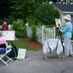 Many artists at work, en plein air, at the Kilburn Gallery.
