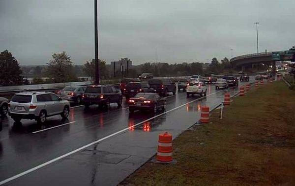 A traffic camera shows the backed up traffic in the northbound lanes of I-295 in Portland.