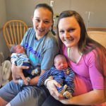 isters Samantha Maynard (left) and Kaitlyn Kelley delivered baby boys at LincolnHealth's Miles Campus in Damariscotta on the same day, Aug. 2.
