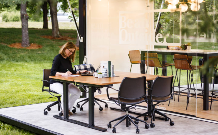 outdoor office space rooftop courtesy of ll bean ll beans first outdoor coworking space features wifi cycling desks
