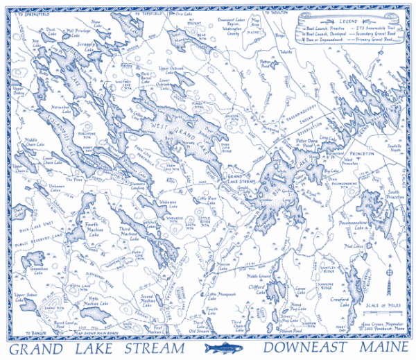 Grand Lake Stream Maine Map.Exploring The Downeast Lakes Through Maps User Submitted