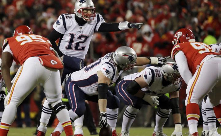 a748685f0365f8 New England Patriots quarterback Tom Brady (12) calls a play during the  first half
