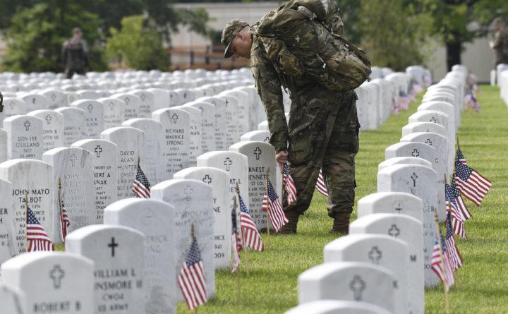 Vice President Mike Pence honors fallen service members at Arlington cemetery