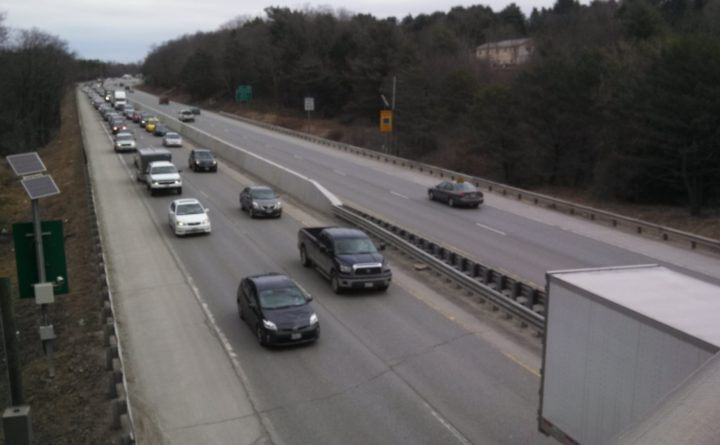 Nick Mc Crea | BDN Nick Mc Crea | BDN Traffic backs up in the southbound lanes of Interstate 95 in Bangor in this file