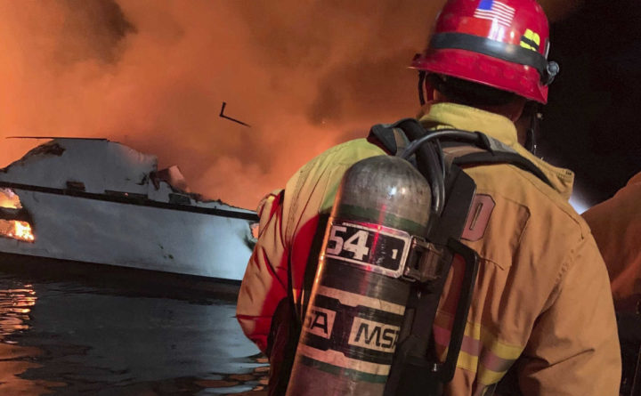 At least 30 people trapped on burning boat off California coast