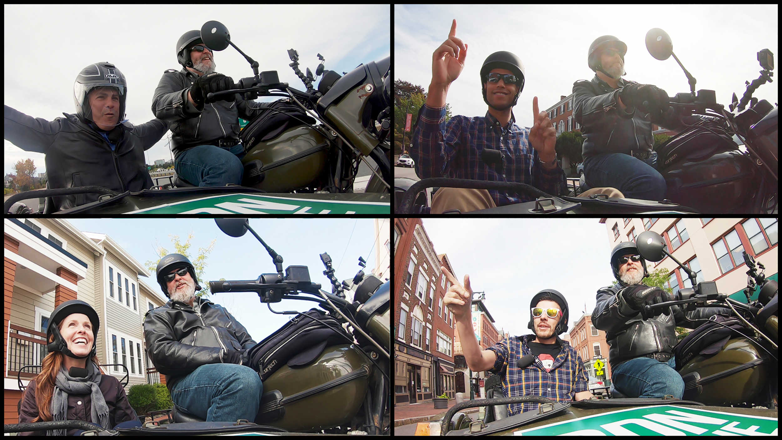 Portland's mayoral candidates answer questions riding around in a motorcycle sidecar