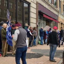 Trump supporters rally against impeachment at Golden's downtown Bangor office