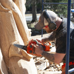 Chainsaw artist's sculpture outside Stephen King's home nears completion
